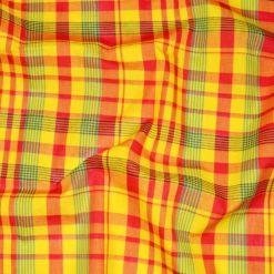 Tissu Madras Coton Jaune-Rouge-Vert